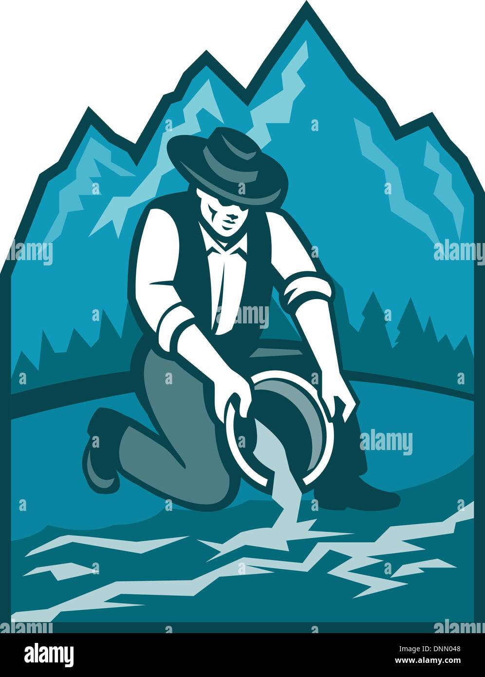 Illustration of a gold digger miner prospector with pan panning for gold in river done in retro style with mountains in background. - Stock Image
