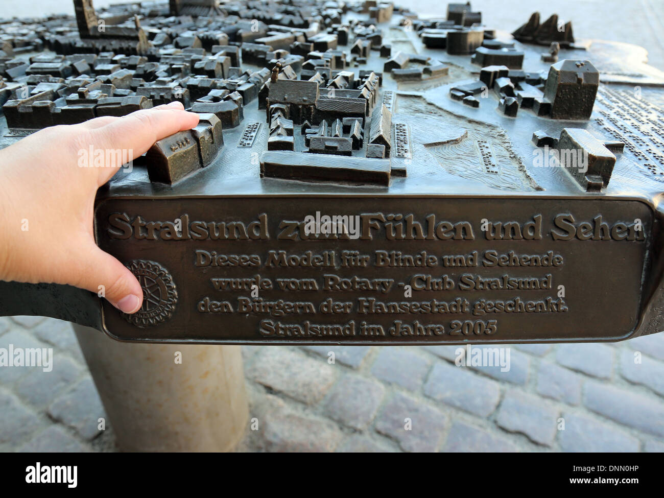 Stralsund, Germany, model of the city of Stralsund to feel and see - Stock Image
