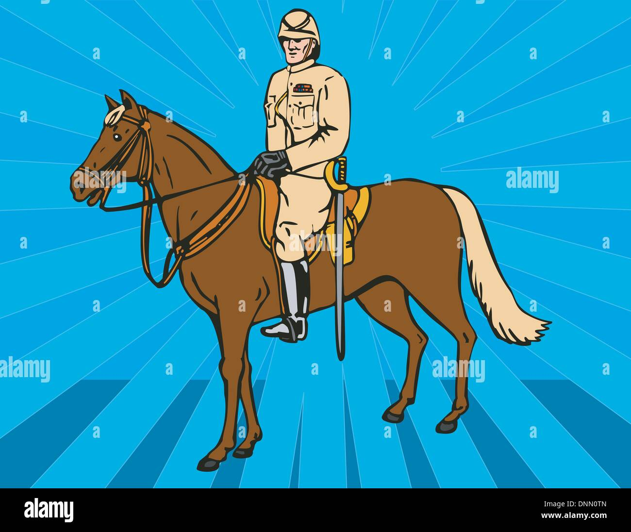 Illustration of a hussar on horseback done in retro style. - Stock Vector