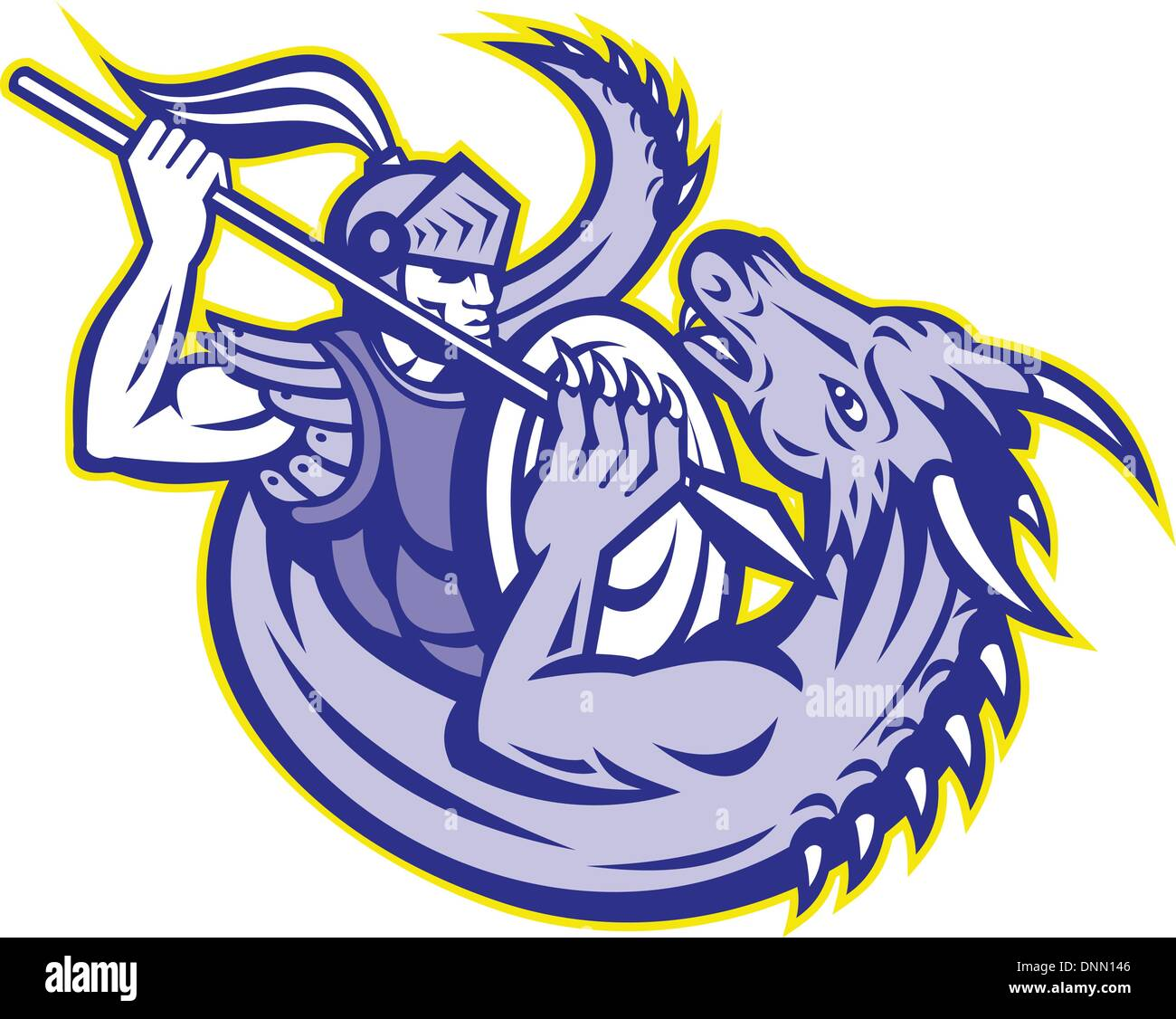 illustration of  St. George the knight fighting a dragon with spear and shield on isolated white background. - Stock Vector