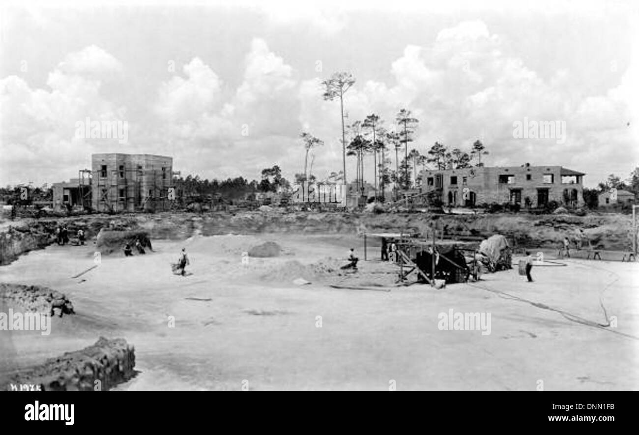 Construction of the Venetian Pool: Coral Gables, Florida - Stock Image