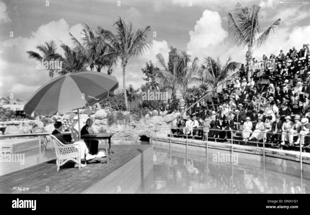 William Jennings Bryan speaking at the Venetian Pool: Coral Gables, Florida - Stock Image