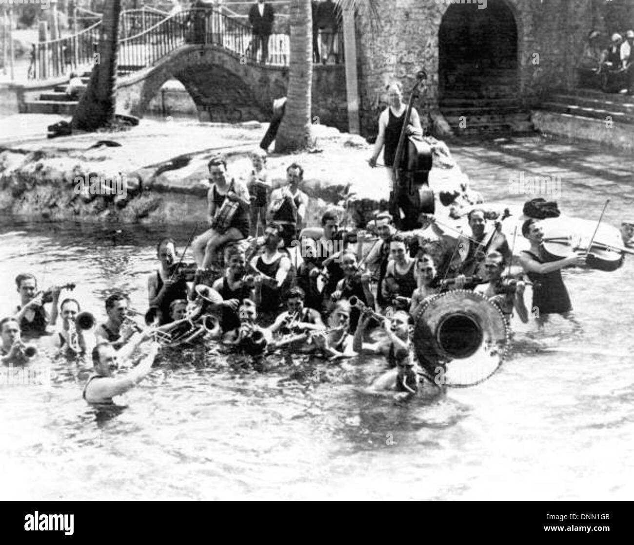 Paul Whiteman and band at the Venetian Pool opening ceremony: Coral Gables, Florida - Stock Image