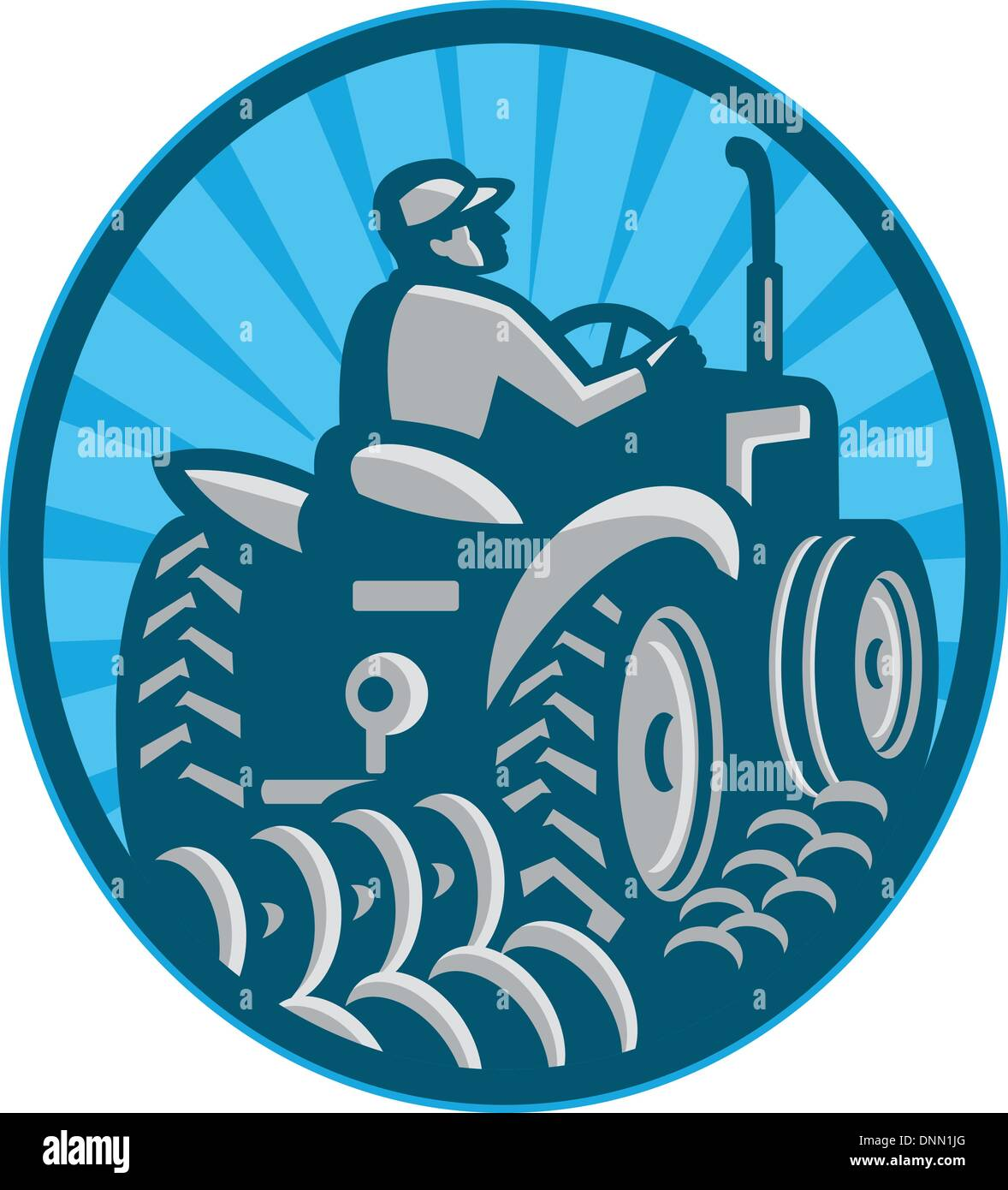 Illustration of a farmer plowing with vintage tractor viewed from the rear set inside oval done in retro style. - Stock Vector