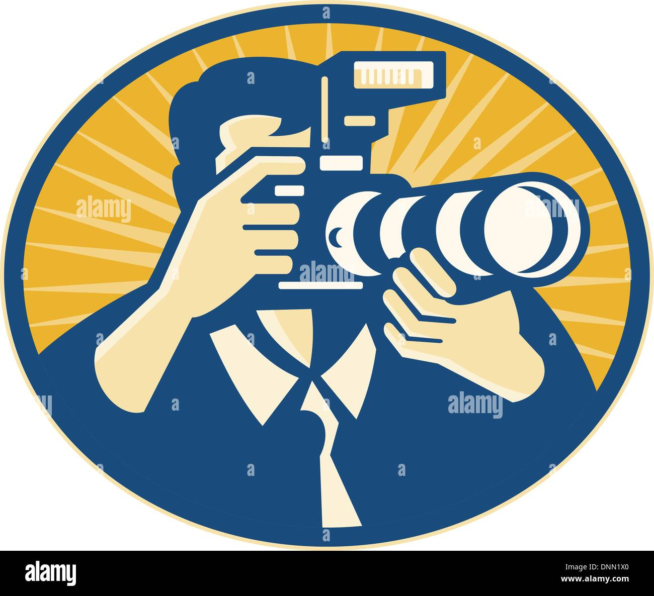 Illustration of a photographer shooting DSLR camera with flash and zoom lens set inside ellipse done in retro style. - Stock Image