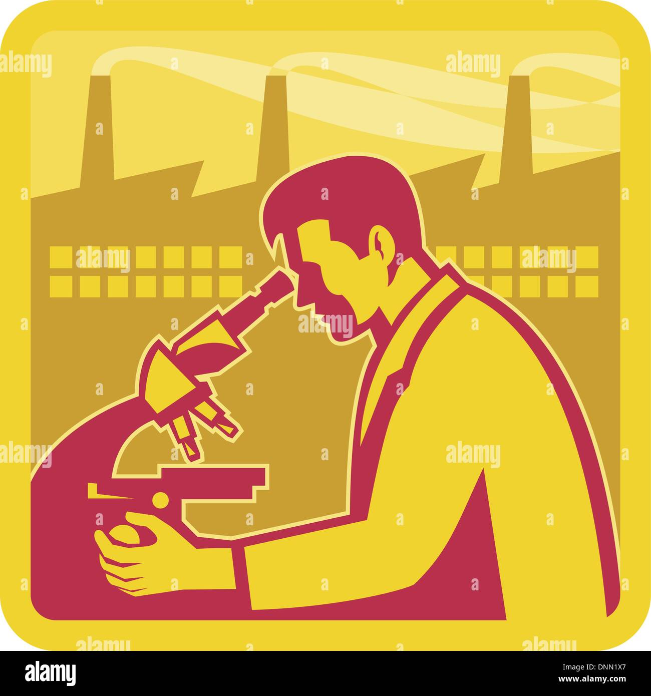 Illustration of a scientist worker chemist researcher with factory building in background set inside square done in retro style. - Stock Vector