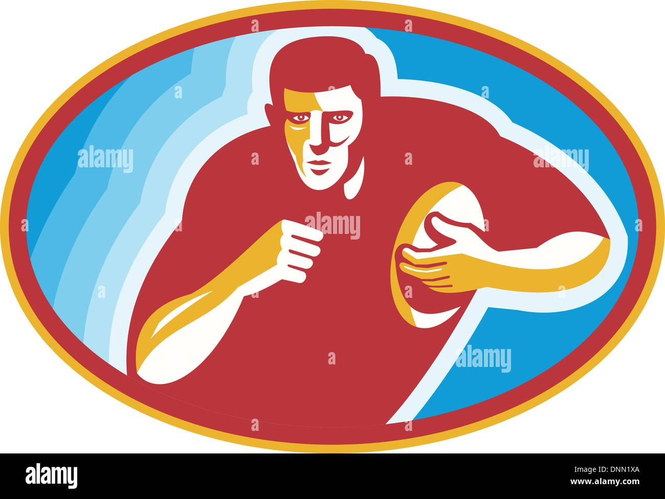 Illustration of a rugby player running with ball set inside ellipse done in retro style. Stock Vector