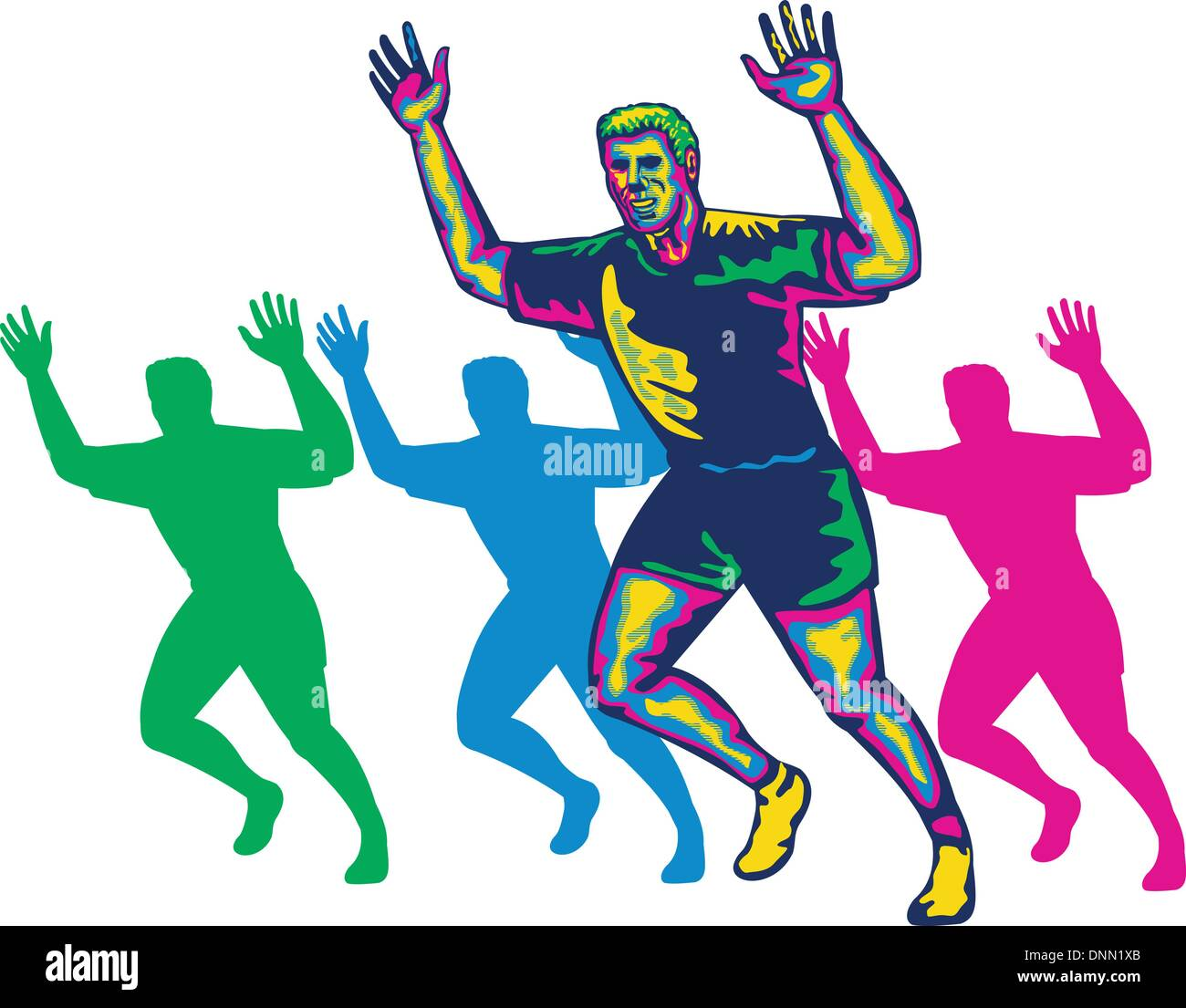 Illustration of a happy marathon runner running with hands up done in retro style on isolated white background Stock Vector