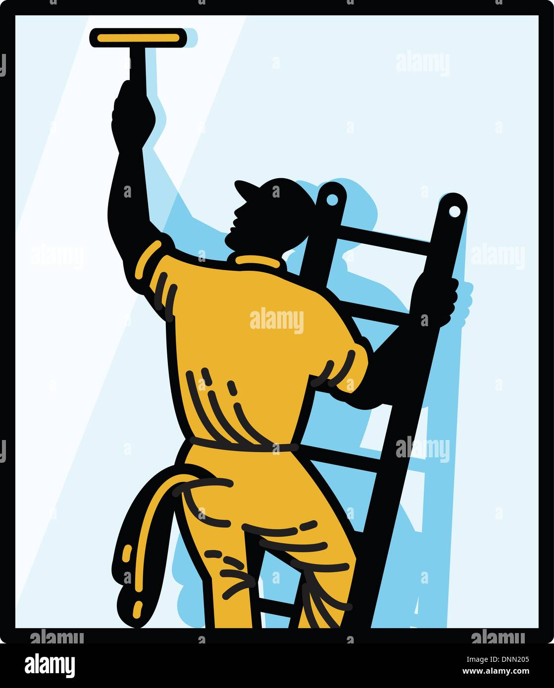 Illustration of a window cleaner worker cleaning on ladder with squeegee viewed from rear set inside square done in retro style. - Stock Vector