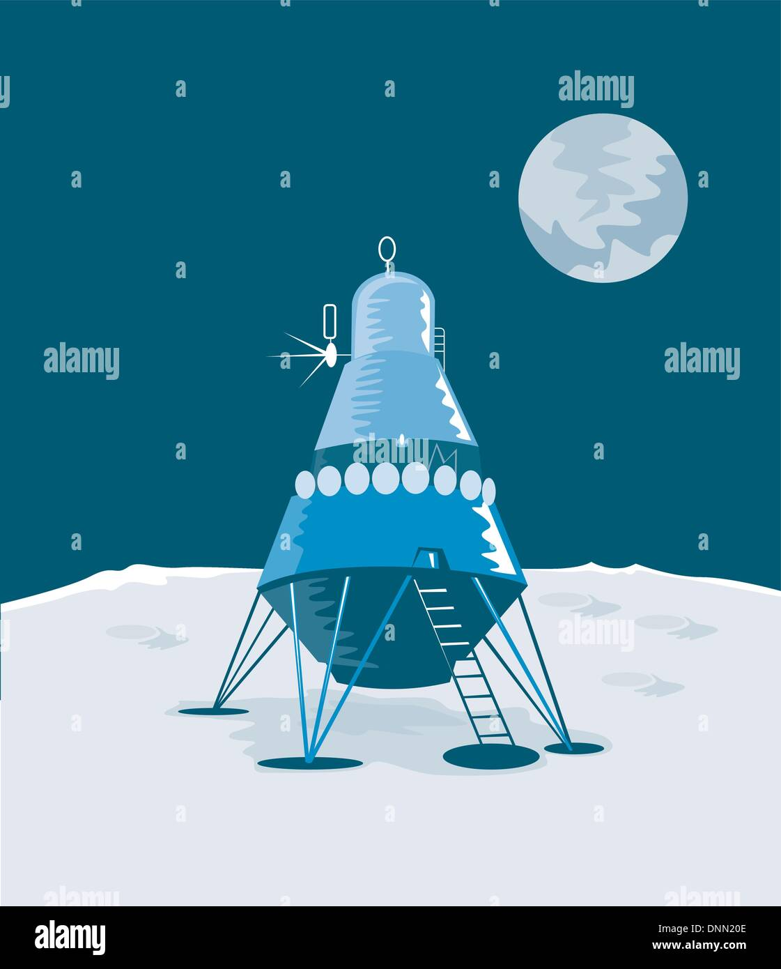 Illustration of lunar module landing on the moon isolated on white background done in retro style. - Stock Vector