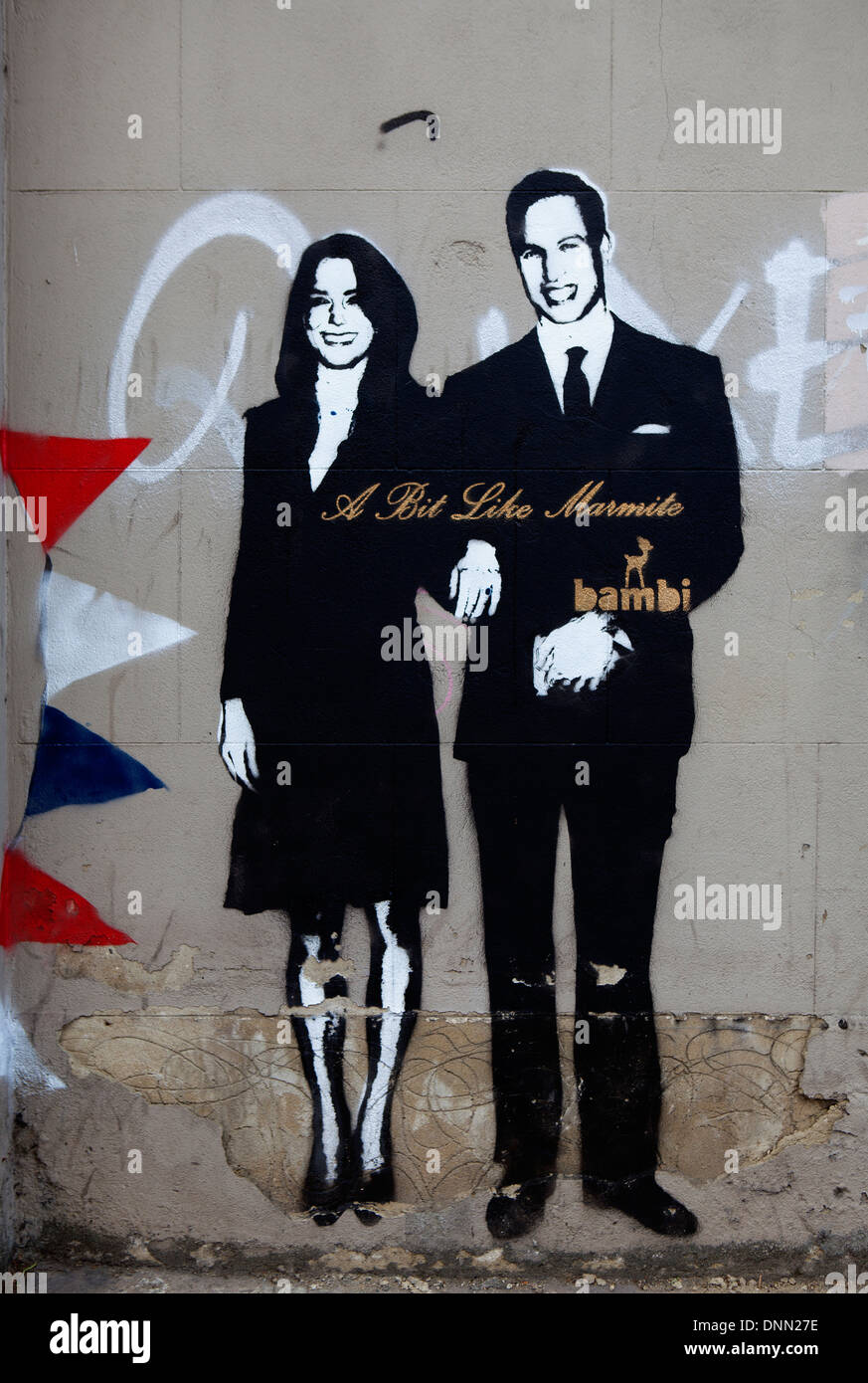 Prince William and Kate Middleton, a bit like marmite, Bambi graffiti, London, UK - Stock Image