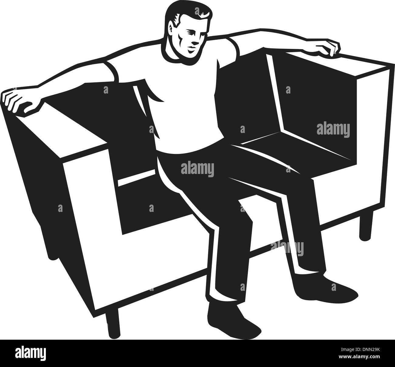 Illustration Of A Man Sitting On Sofa Couch Chair Front View Done In