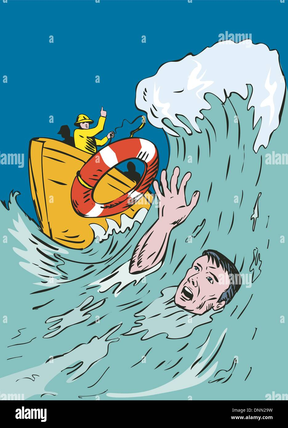 Illustration of man drowning and man rescuing lifeguard done in retro style. - Stock Image