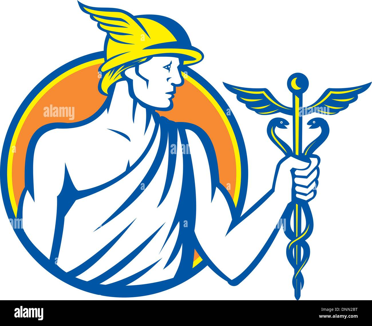 Illustration of Roman god Mercury patron god of financial gain, commerce, communication and travelers wearing winged hat and holding caduceus a herald's staff with two entwined snakes looking to side set inside circle on isolated background done in retro - Stock Image
