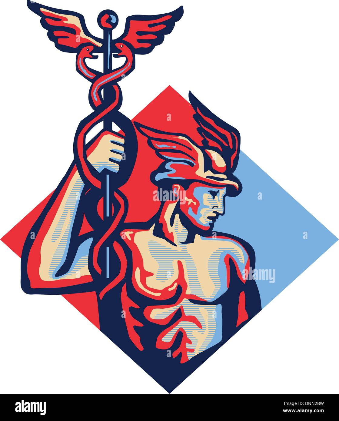 Illustration of Roman god Mercury patron god of financial gain,commerce, communication and travelers wearing winged hat and holding caduceus a herald's staff with two entwined snakes set inside diamond shape retro style. - Stock Image