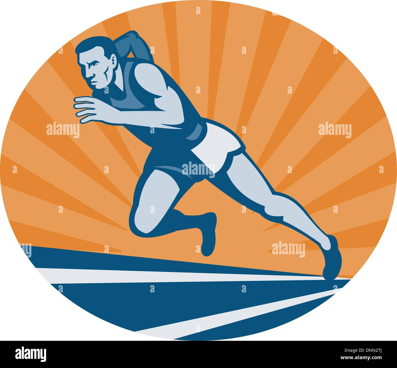 illustration Marathon runner on track with sunburst viewed from an extremely low angle. Stock Vector