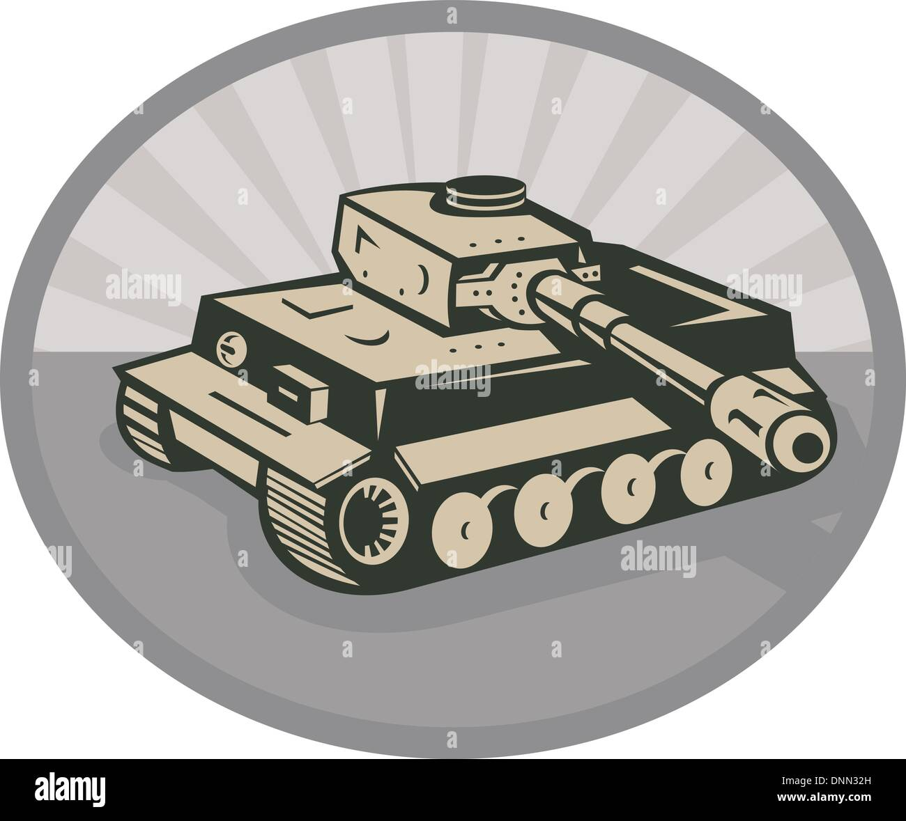 illustration of a world war two German panzer battle tank aiming its cannon set inside an ellipse with sunburst in the background - Stock Vector