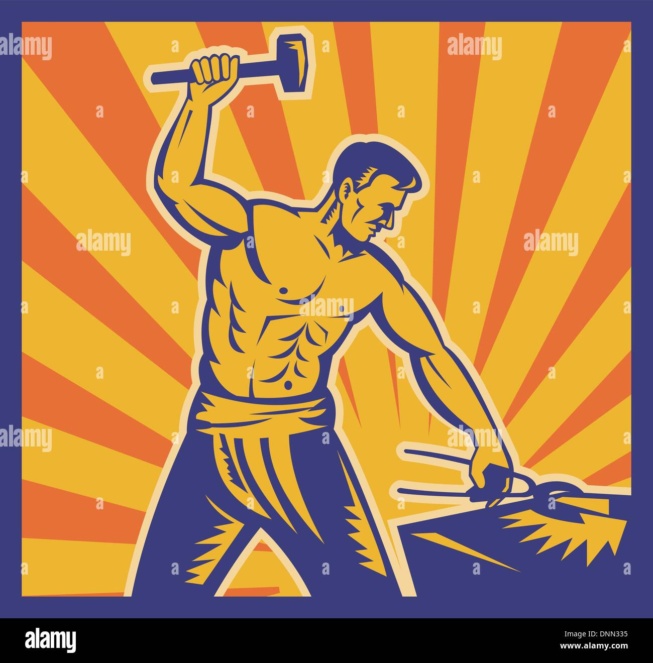 illustration of a Blacksmith at work wielding a hammer with sunburst in background done in retro woodcut style. - Stock Vector