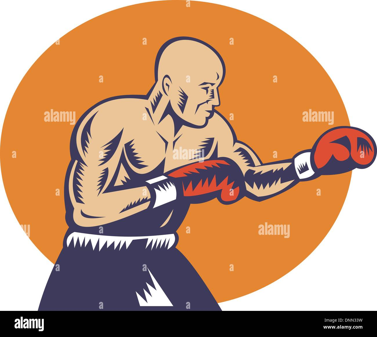 illustration of a boxer jabbing side view done in woodcut style - Stock Image