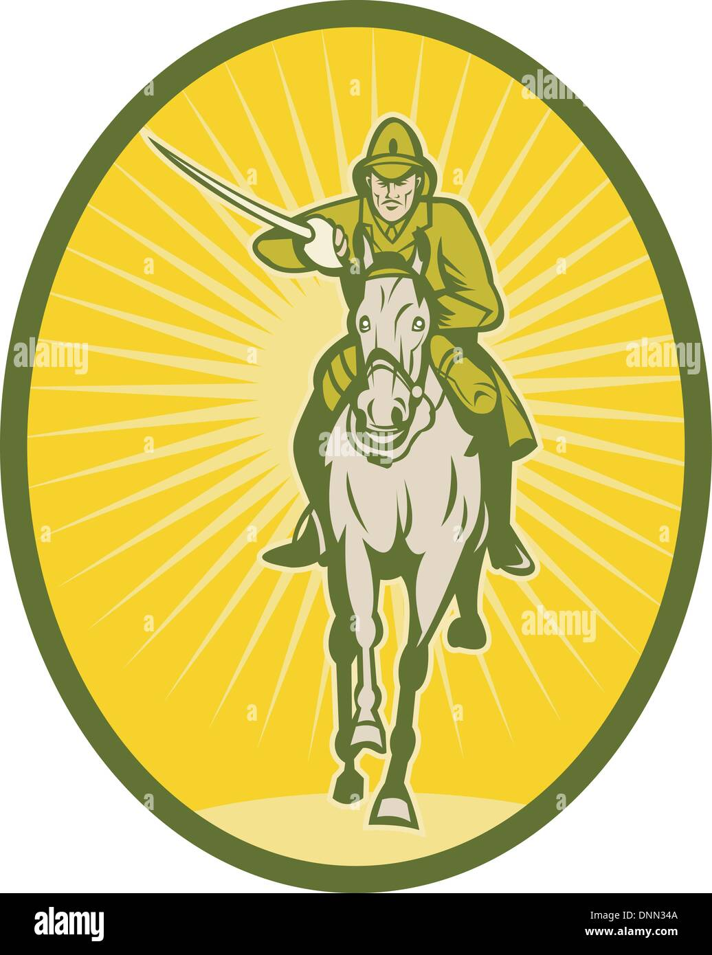 illustration of a Hussar lighthorseman cavalry charging with sword viewed from the front - Stock Vector
