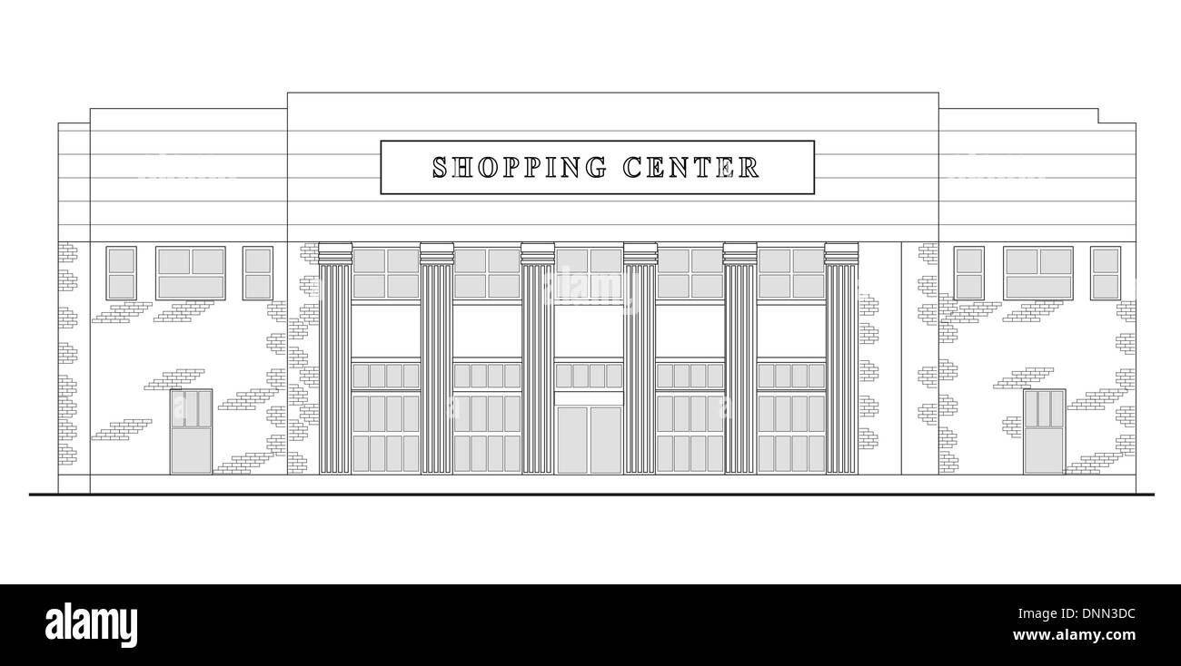 line drawing illustration of a strip mall or shopping center building viewed from front elevation on white background Stock Vector