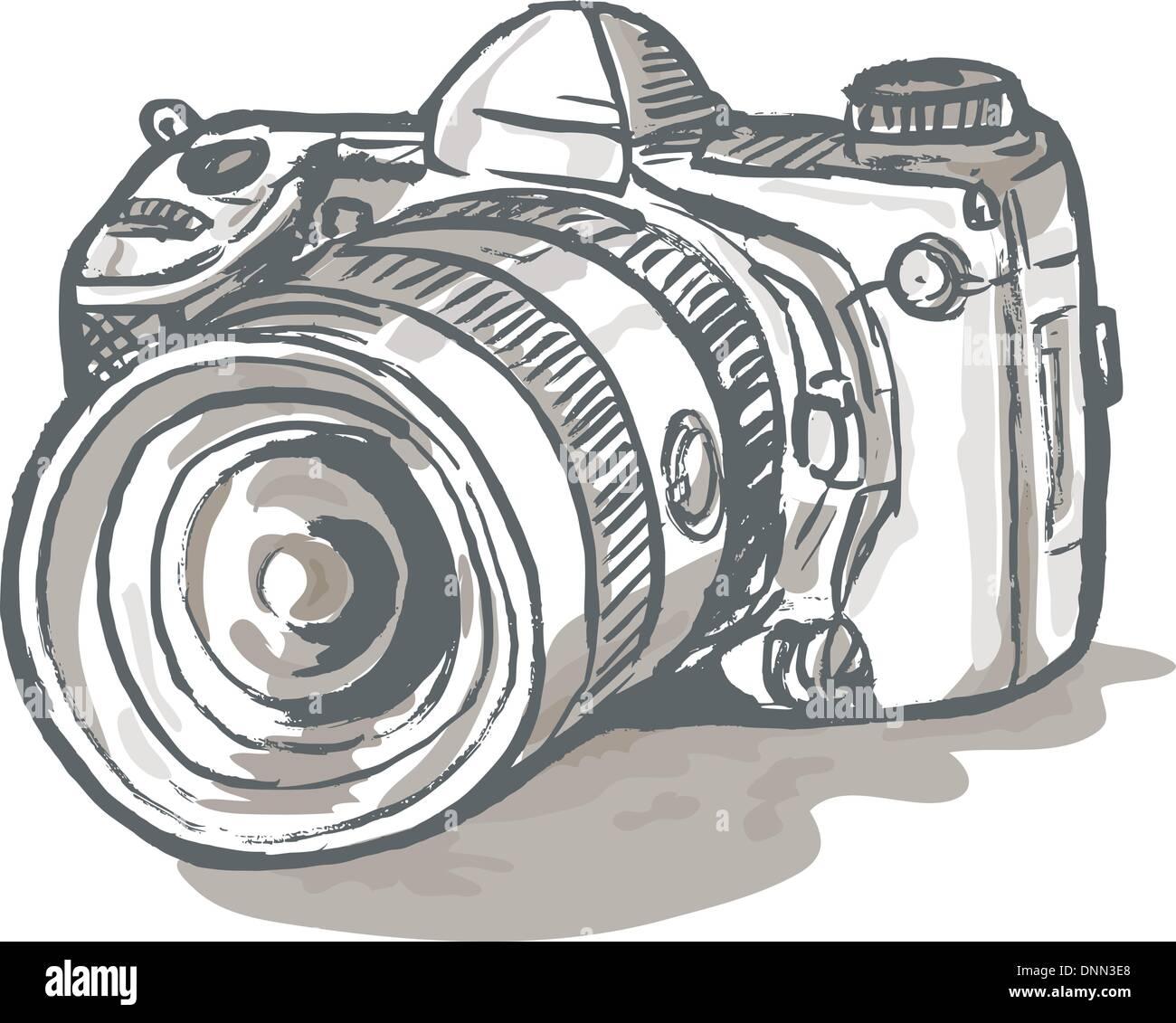 hand sketch drawing illustration of a digital SLR camera - Stock Vector