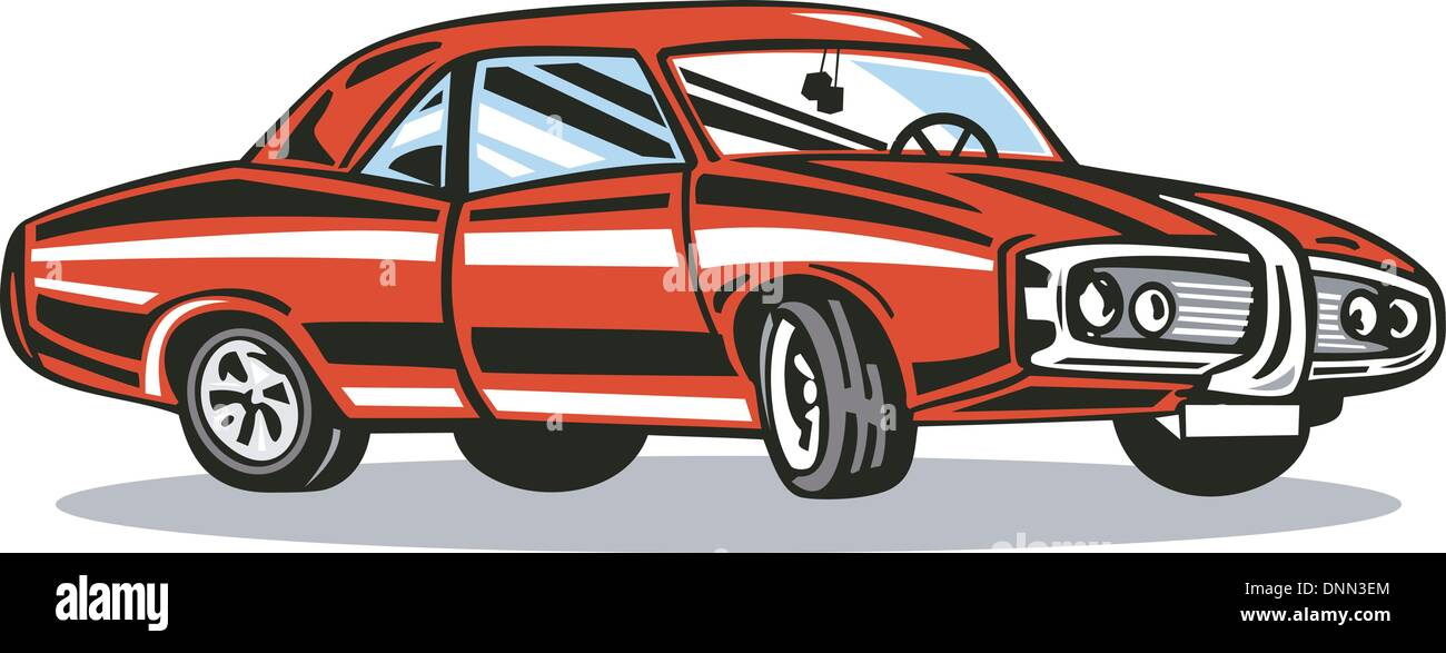 Illustration of classic red car in retro style. - Stock Image