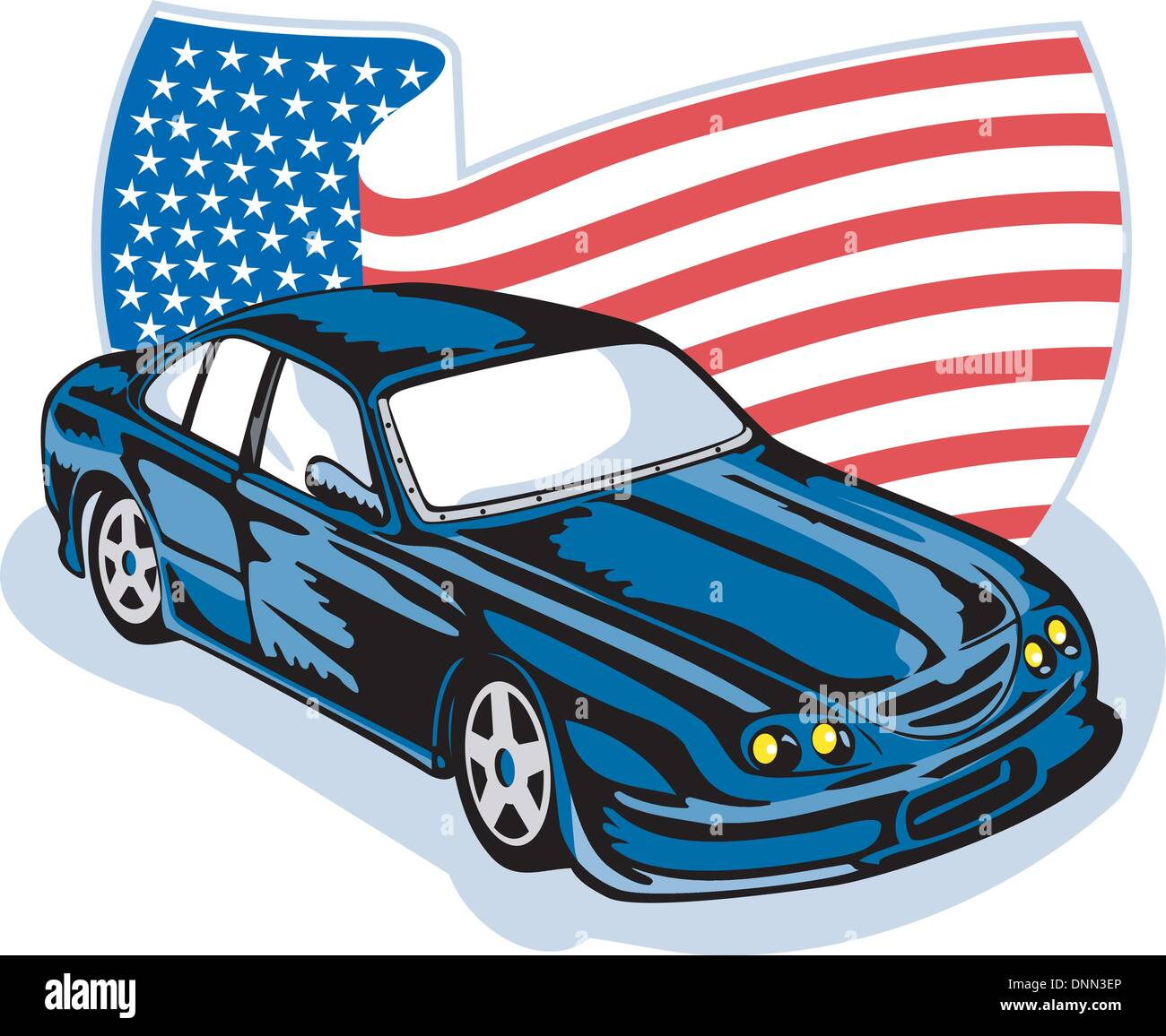 graphic design illustration of an american ford gt muscle car with