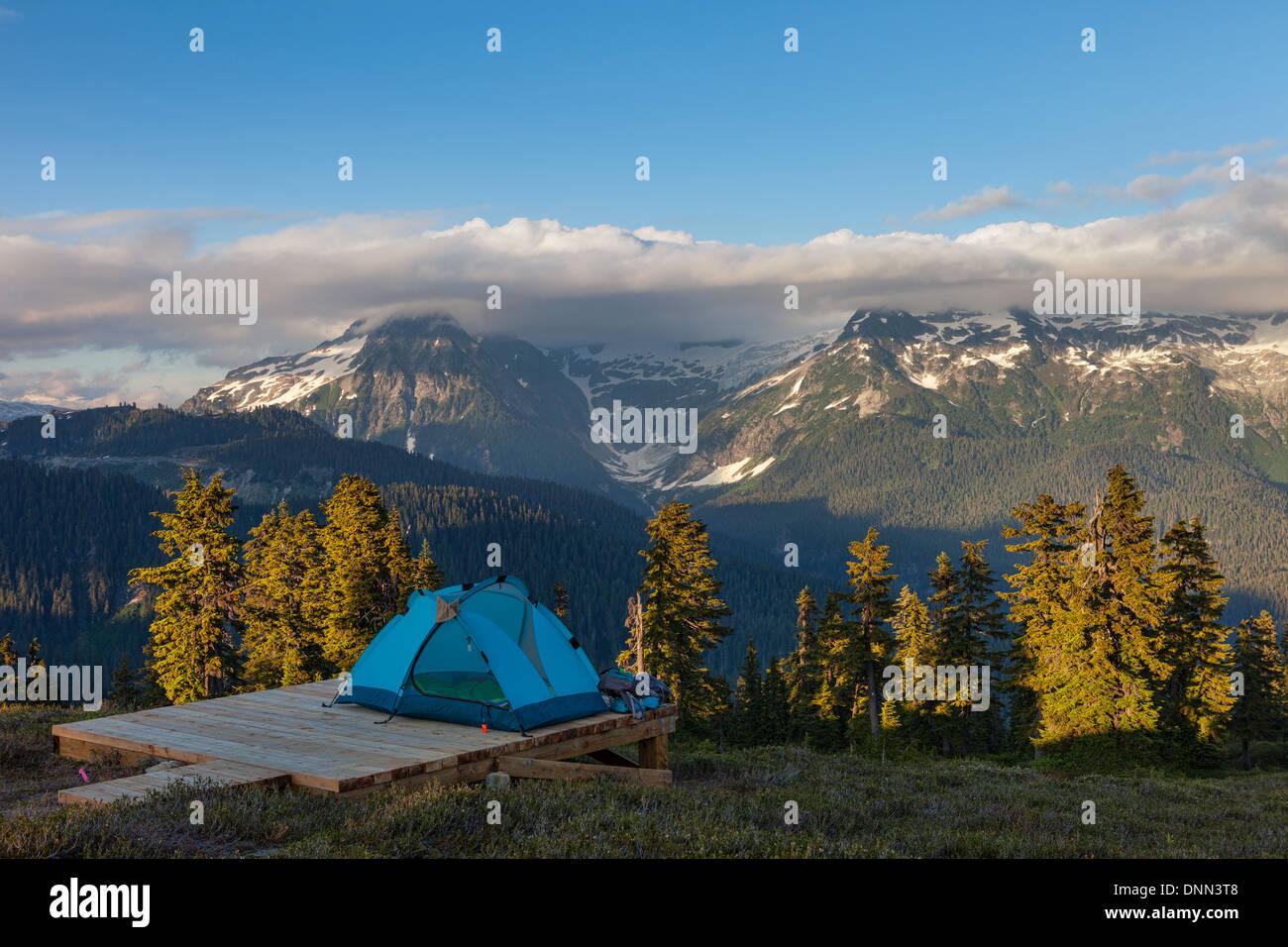 A Campsite near Elfin Lakes in Garibaldi Provincial Park Stock Photo