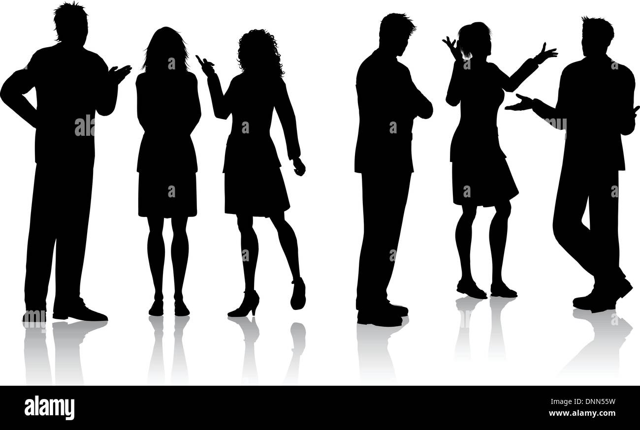 Silhouettes of business people having conversations - Stock Image