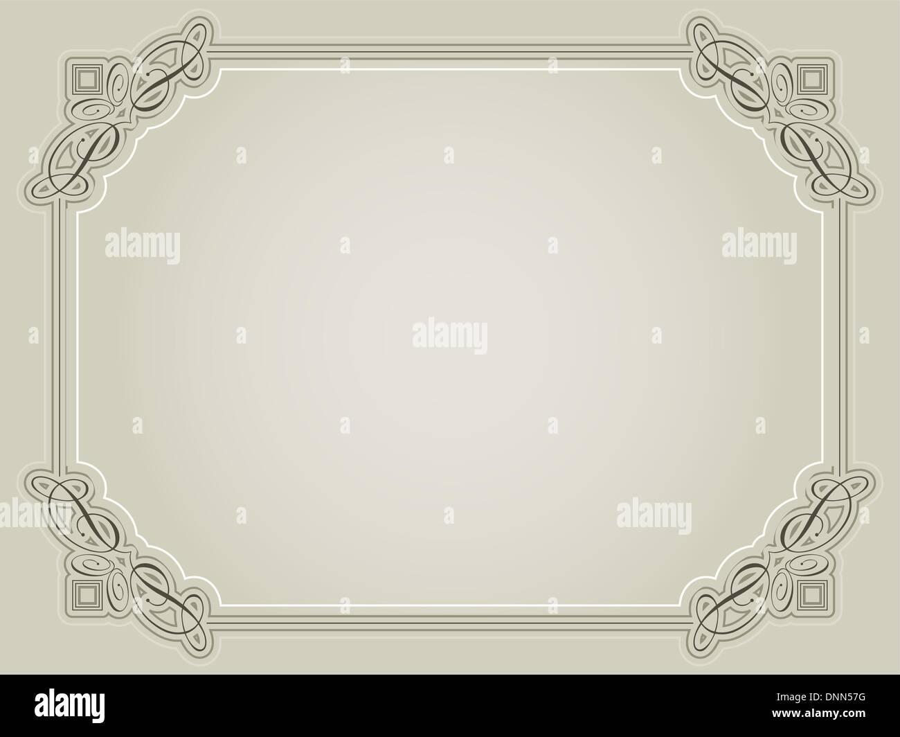 Decorative certificate background in sepia tones - Stock Image