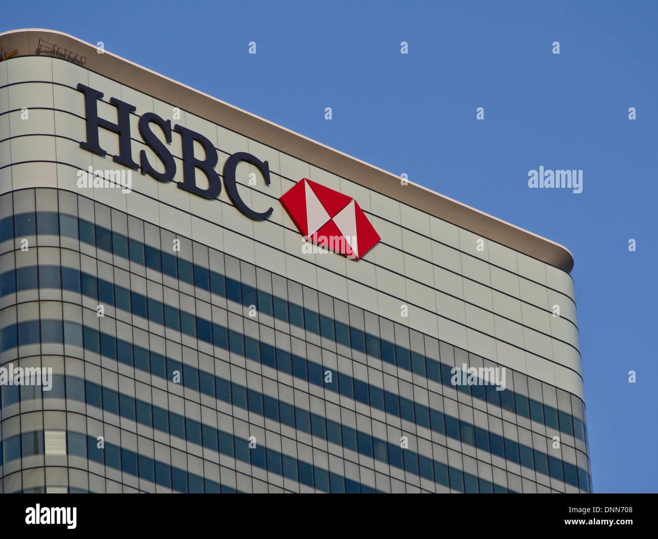 HSBC bank UK headquarters in Canary Wharf, London Stock