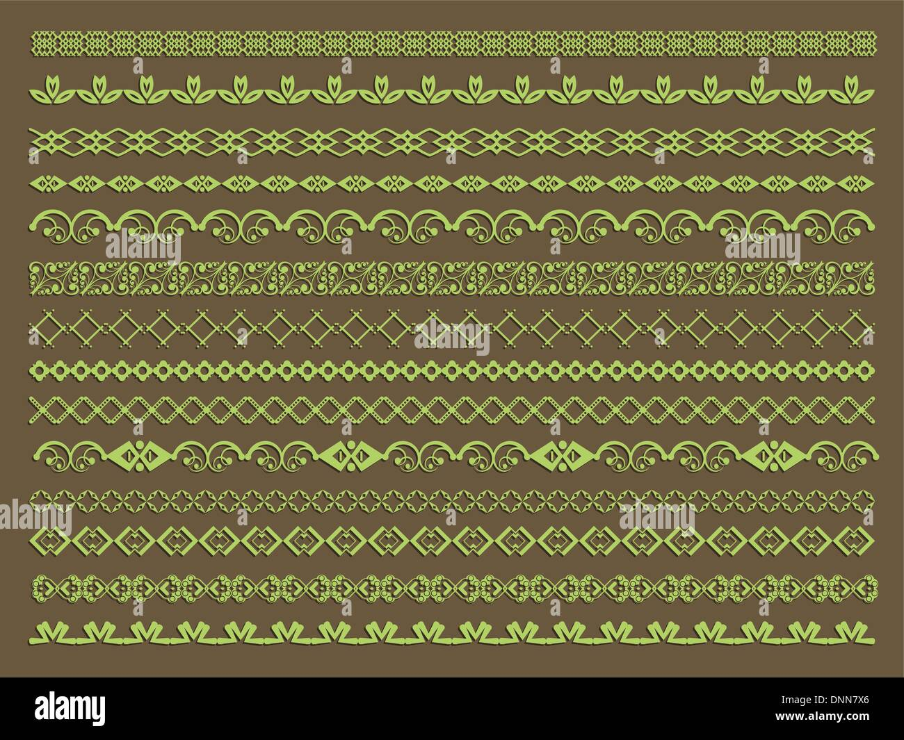 Large collection of decorative borders and page breaks - Stock Vector