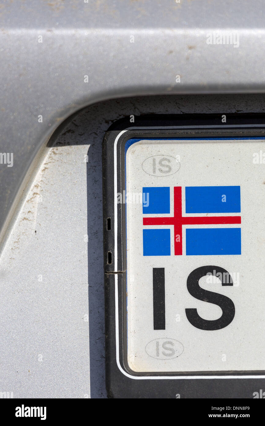 Icelandic flag and country registation code IS on car number plate - Stock Image