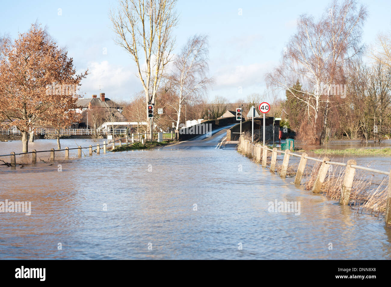 View of Hampstead road over the river Medway and Twyford Bridge now a river itself - Stock Image