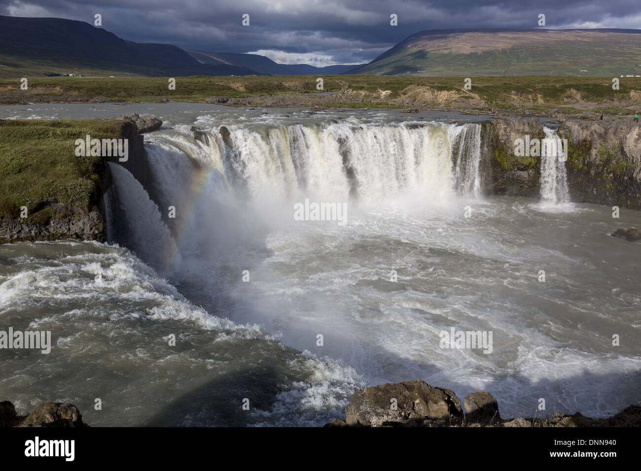 Godafoss Waterfall is located in the Myvatn district of North-Central Iceland. Also known as the Waterfall of the Gods - Stock Image