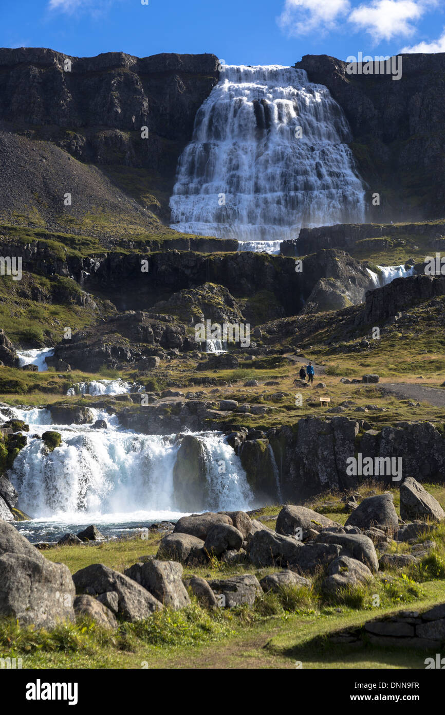 Iceland. Dynjandi (also known as Fjallfoss) is a set of waterfalls located in the Westfjords (Vestfirdir) - Stock Image