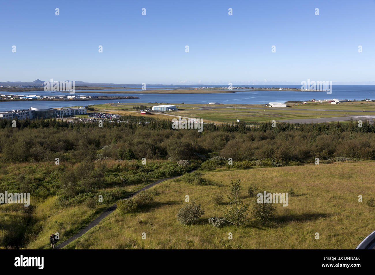 View of old airport area of Reykjavik Iceland - Stock Image