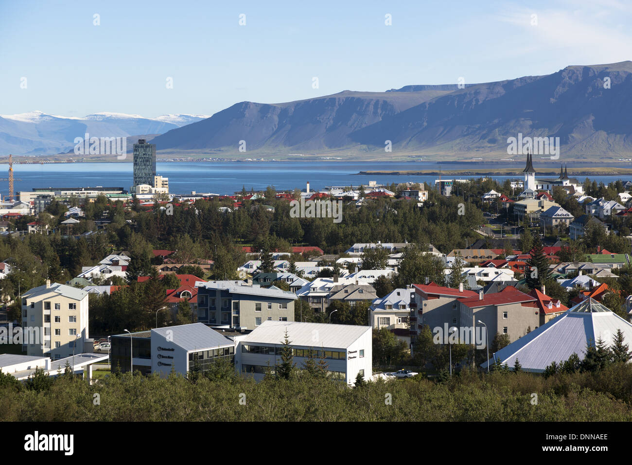 View of downtown Reykjavik the capital of Iceland - Stock Image