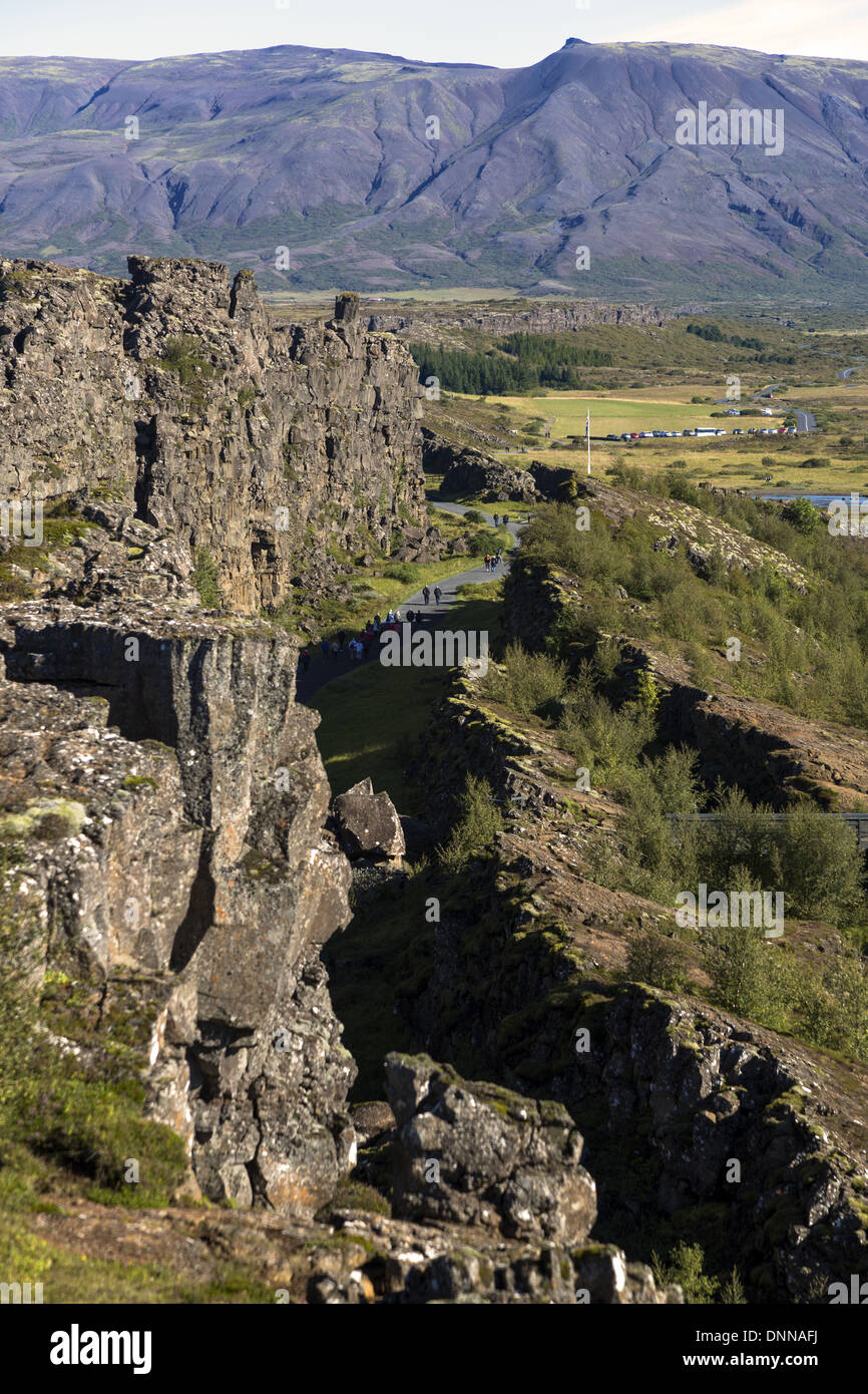 Thingvellir located on a fissure zone running through Iceland, on the tectonic plate boundaries of the Mid-Atlantic Ridge. - Stock Image