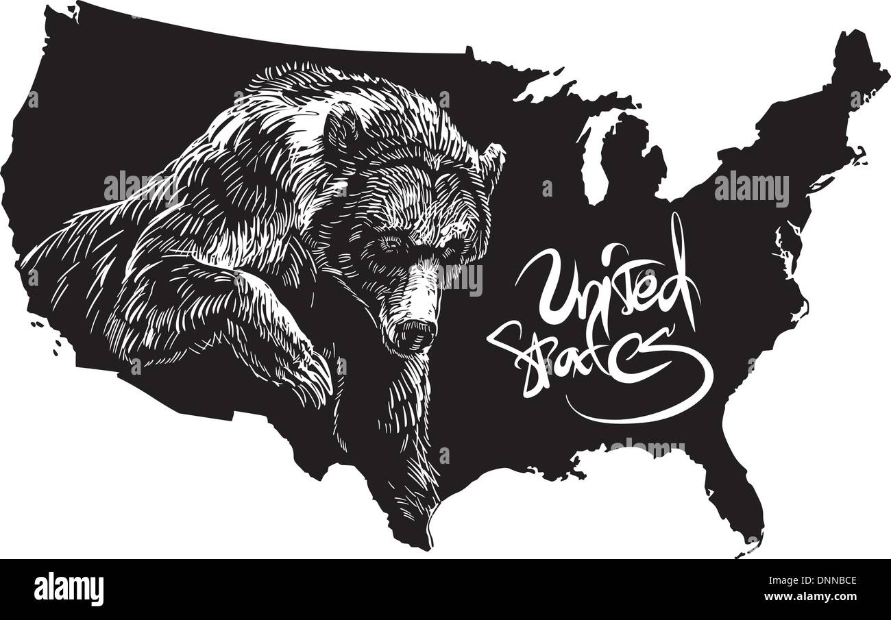 Grizzly bear and U.S. outline map. Black and white vector illustration. Ursus arctos horribilis. Stock Vector