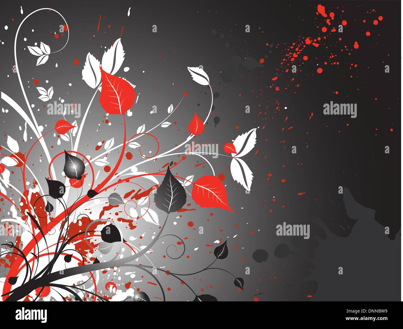 Floral grunge background - Stock Image