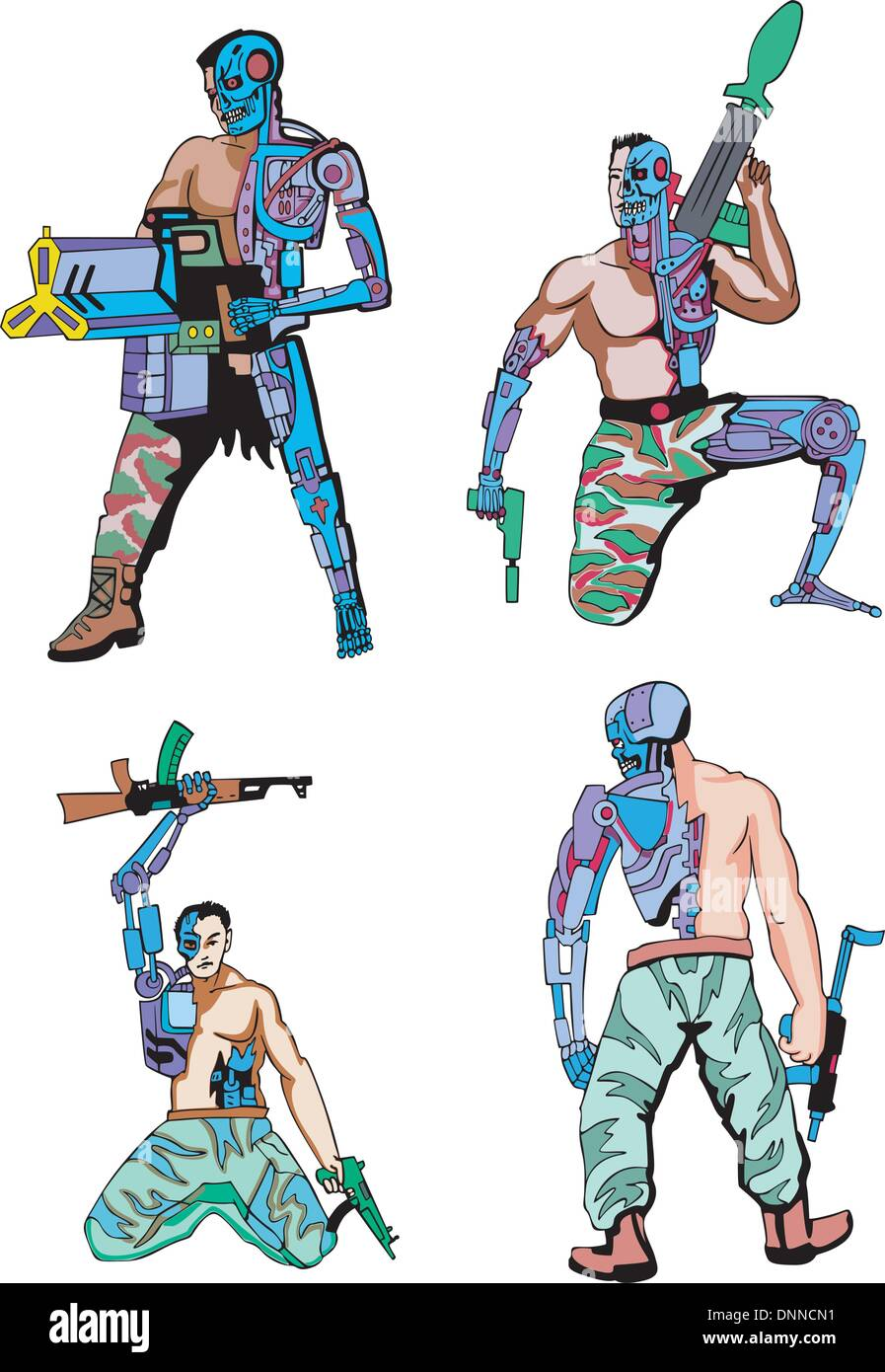 Cyborgs Set Of Color Vector Illustrations Biomechanics