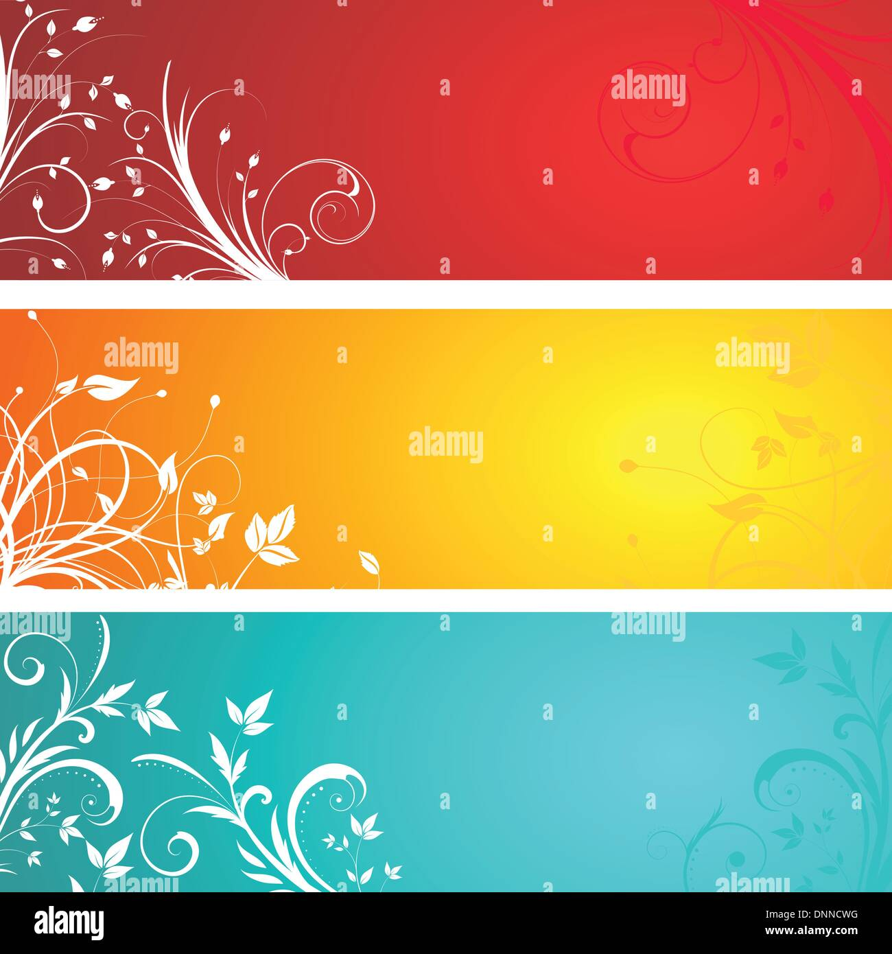 Various different designed floral panels - Stock Image