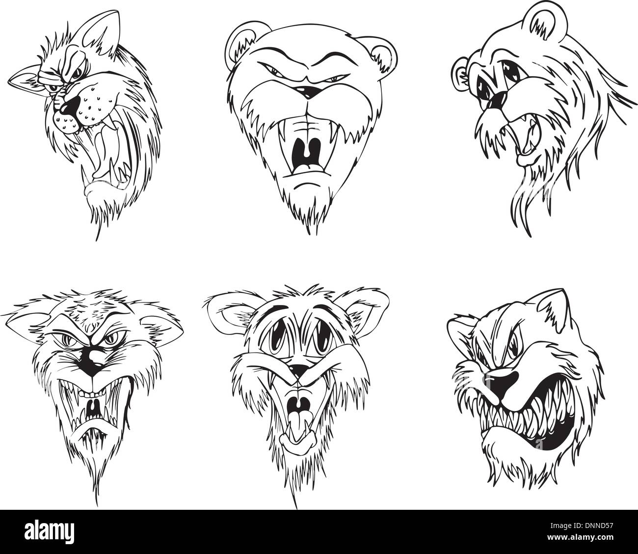 Aggressive animal heads. Set of black and white vector tattoo designs. - Stock Vector