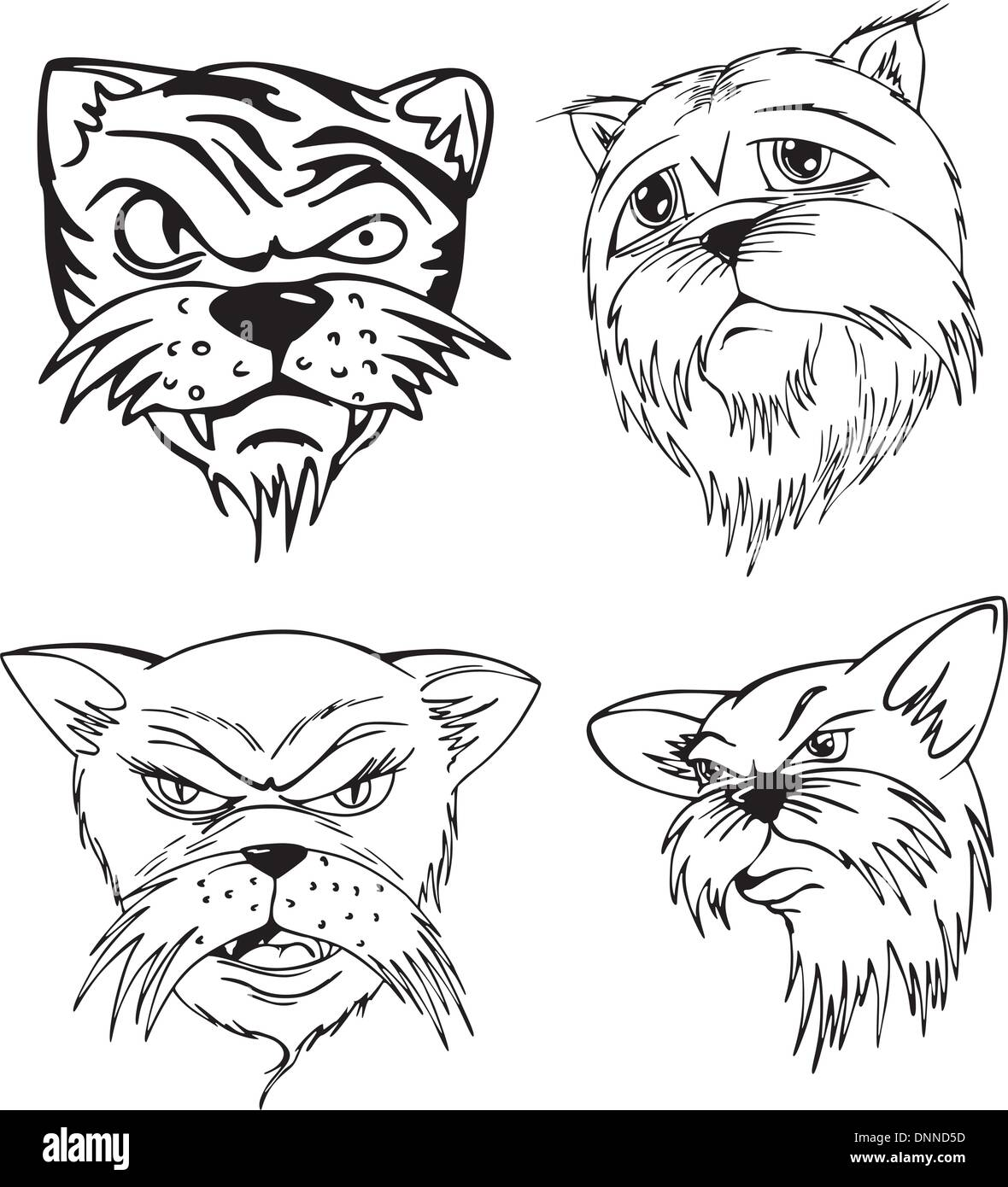 Aggressive cat heads. Set of black and white vector tattoo designs. - Stock Vector
