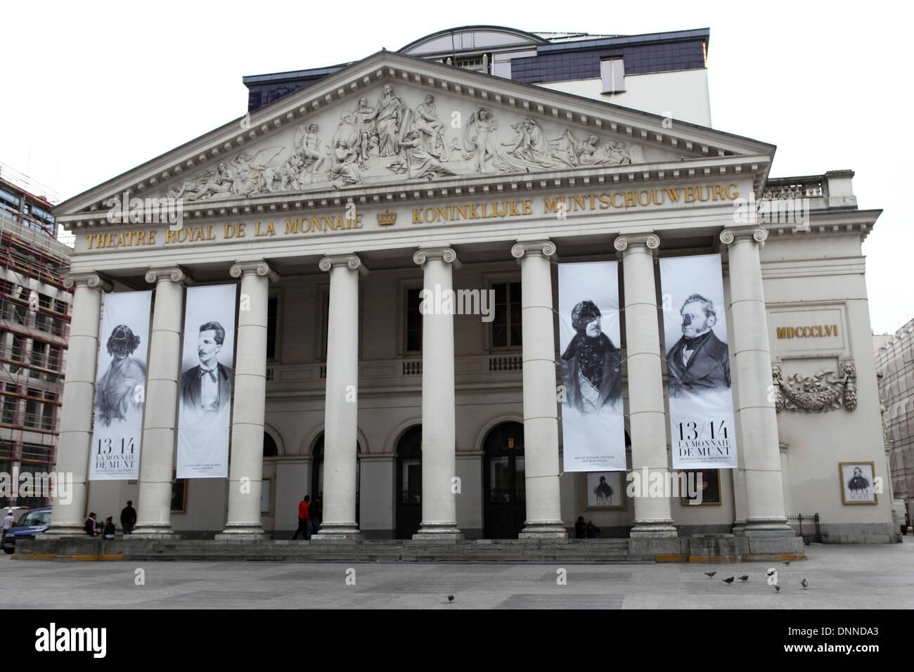 The Theatre Royal de la Monnaie (Koninklijke Muntschouwberg) in Brussels, Belgium. - Stock Image