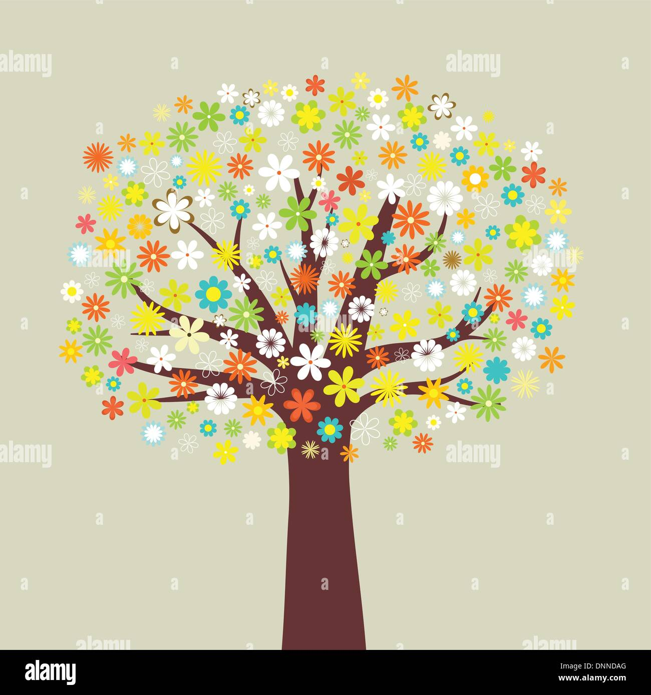 Illustration of a tree of many flowers - Stock Image