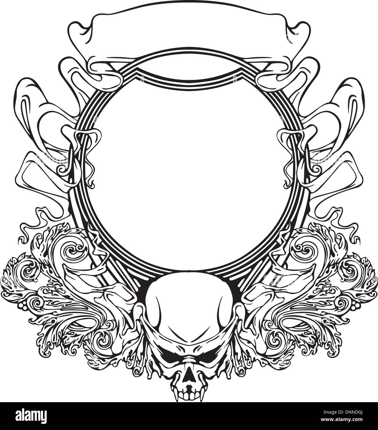 Frame with skull in Art Nouveau style. Black and whie vector Stock ...