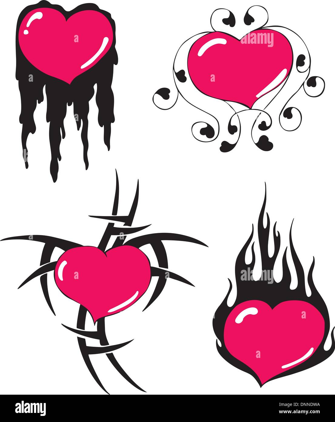 Simple heart designs. Set of black and red vector illustrations. - Stock Image